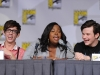 FOX FANFARE AT COMIC-CON 2010: (L-R) GLEE cast members  Kevin McHale, Amber Riley and Chris Colfer during the GLEE panel session on Sunday, July 25, at the FOX FANFARE AT COMIC-CON 2010 in San Diego, CA.