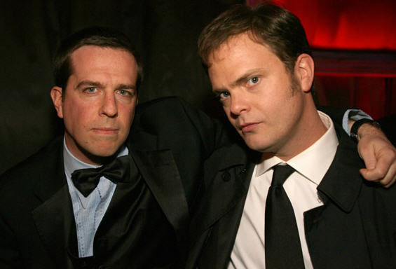 Rainn Wilson and Ed Helms at the Golden Globes