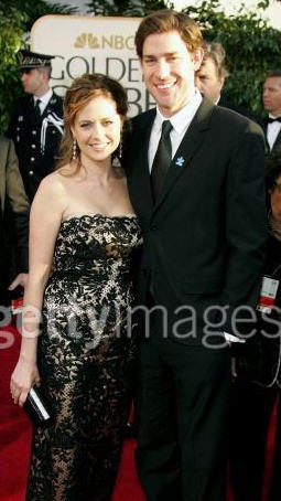 Jenna Fischer and John Krasinski at the Golden Globes