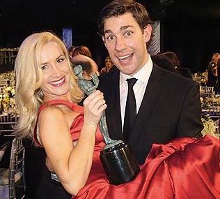 John Krasinski and Angela Kinsey at the SAG Awards