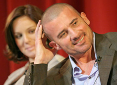 Sarah Wayne Callies (Sara) and Dominic Purcell (Lincoln) at the Prison Break panel at the Paley Festival