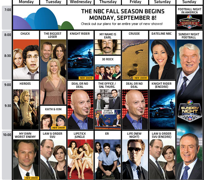 nbc 2008 09 fall schedule take a look give me my remote