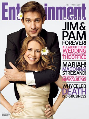 the office s jim pam on the cover of ew give me my remote give
