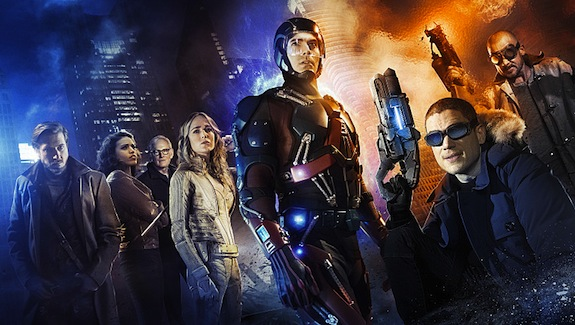 DC's Legends of Tomorrow -- Image LGD01_JN_0001 -- Pictured (L-R): Arthur Darvill as Rip Hunter, Ciara Renee as Kendra/Hawkgirl, Victor Garber as Professor Martin Stein, Caity Lotz as White Canary, Brandon Routh as Ray Palmer/Atom,  Wentworth Miller as Leonard Snart/Captain Cold, and Dominic Purcell as Mick Rory/Heat Wave -- Credit: Jordan Nuttall/The CW -- © 2015 The CW Network, LLC. All Rights Reserved.
