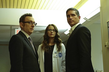 """Reassortment"" -- Reese and Finch become trapped in a hospital that becomes ground zero for a deadly viral outbreak. Also, Samaritan's newest recruit has second thoughts, and Shaw continues to struggle with reality, on PERSON OF INTEREST, Tuesday, May 24 (10:00 -- 11:00 PM ET/PT) on the CBS Television Network. Pictured L-R: Michael Emerson as Harold Finch, Amy Acker as Root, and Jim Caviezel as John Reese Photo: Giovanni Rufino/Warner Bros. Entertainment Inc. ©2015 WBEI. All rights reserved."