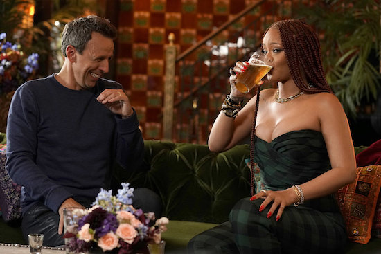 Rihanna Seth Meyers Day Drinking
