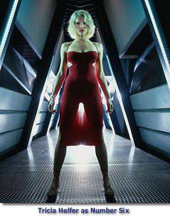 Tricia Helfer stars as Number Six on Battlestar Galactica