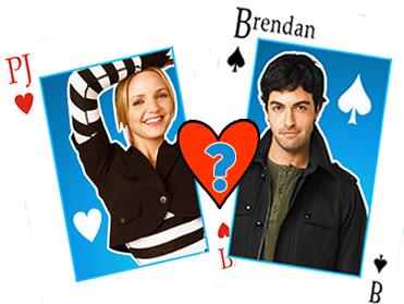 PJ (Jordana Spiro) and Brendon (Reid Scott) from