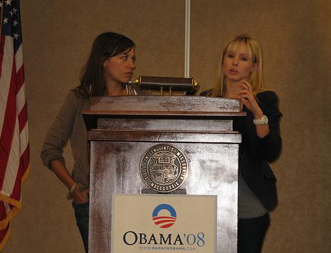 Rashida Jones and Kristen Bell, Obama, MSU